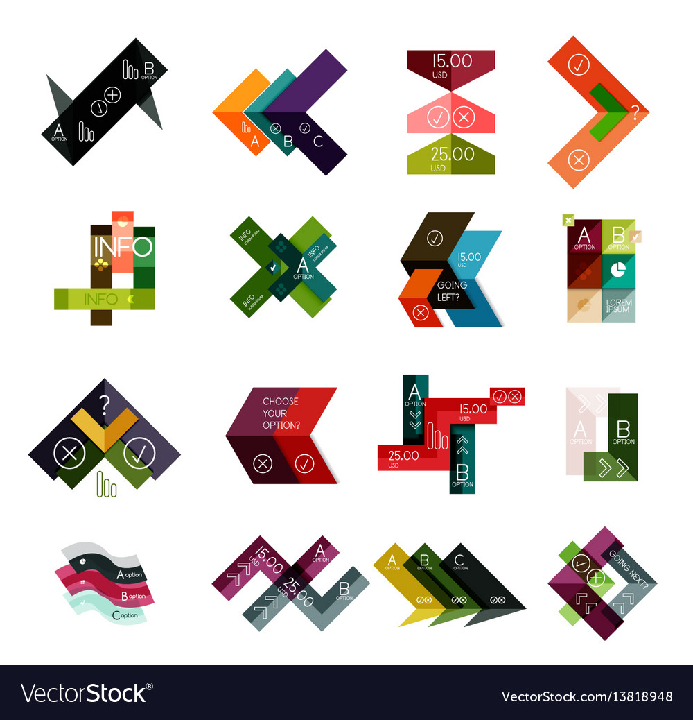 Set of abstract geometrical infographic diagram