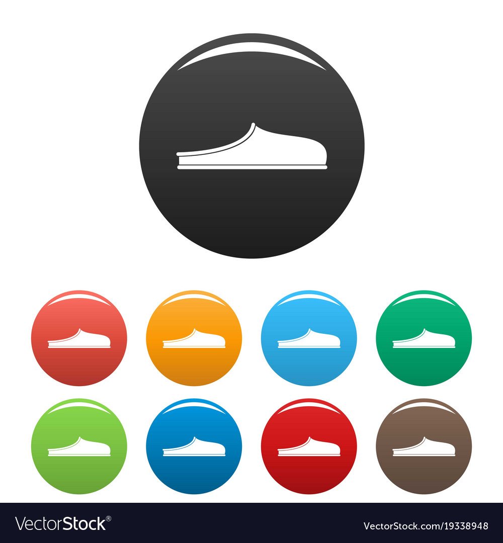 Slippers icons set collection circle