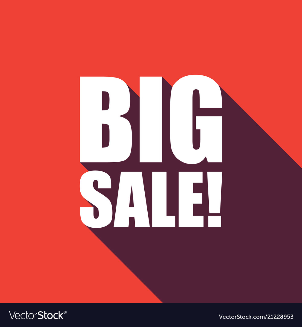 Big sale text with long shadow