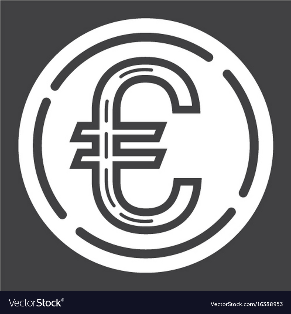 Coin euro glyph icon business and finance money