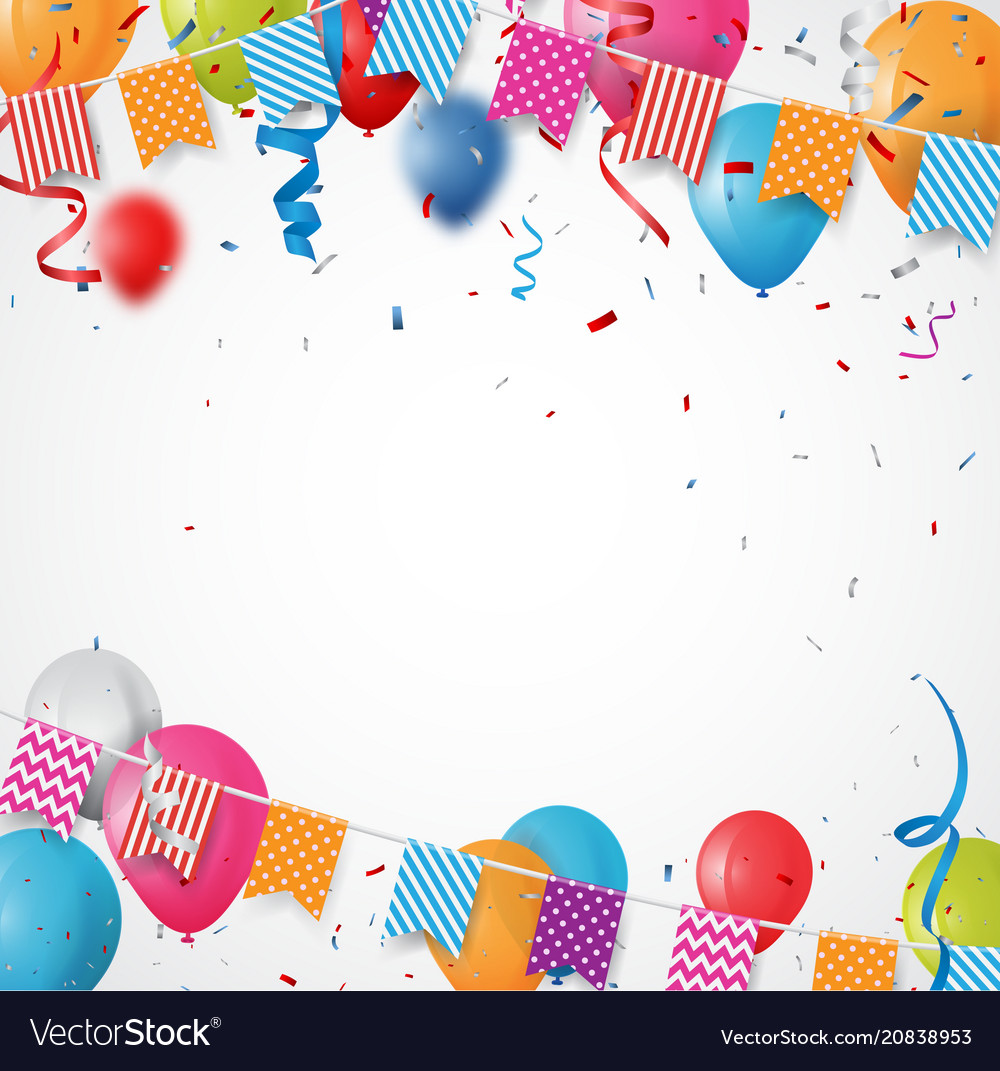 Colorful birthday balloon with bunting flags