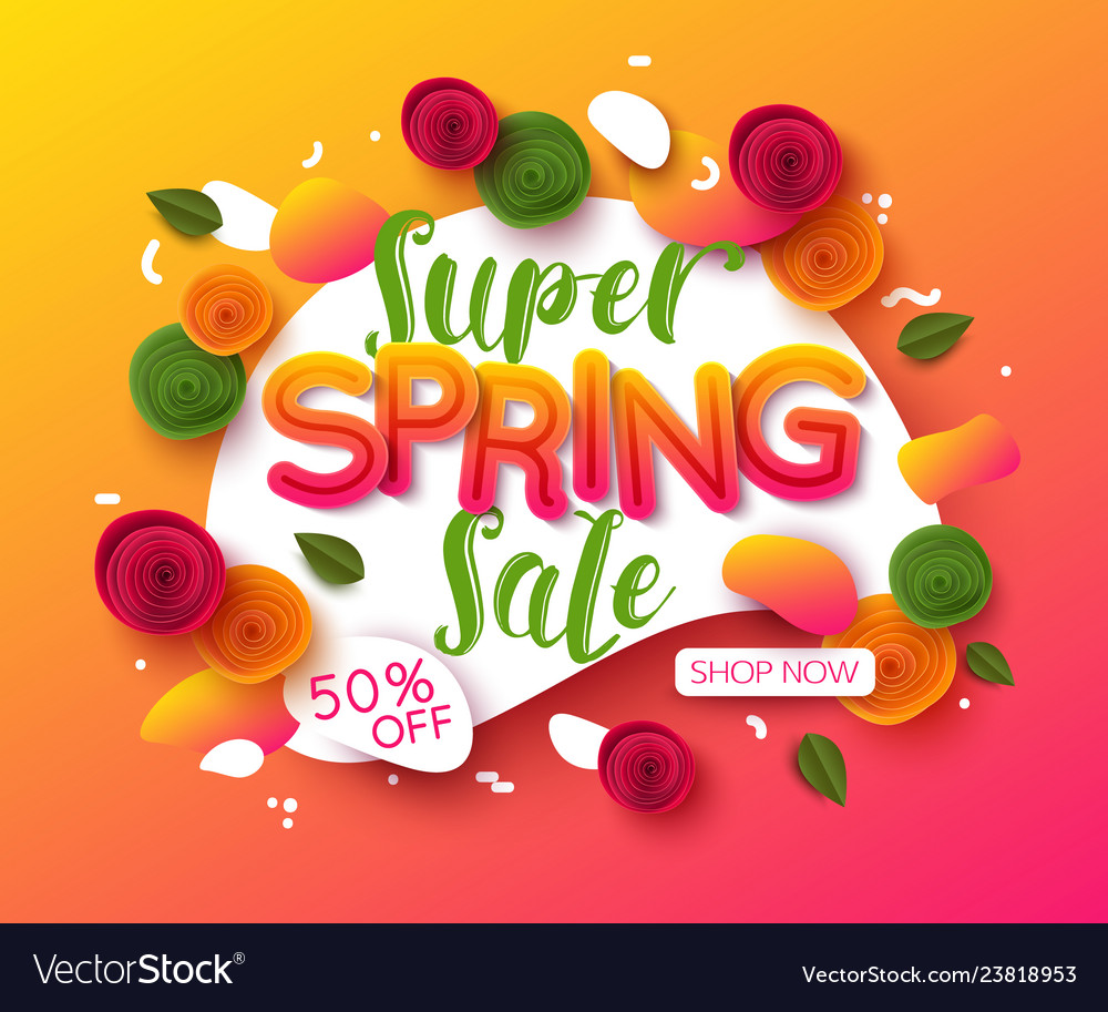 Colorful spring sale background with paper cut