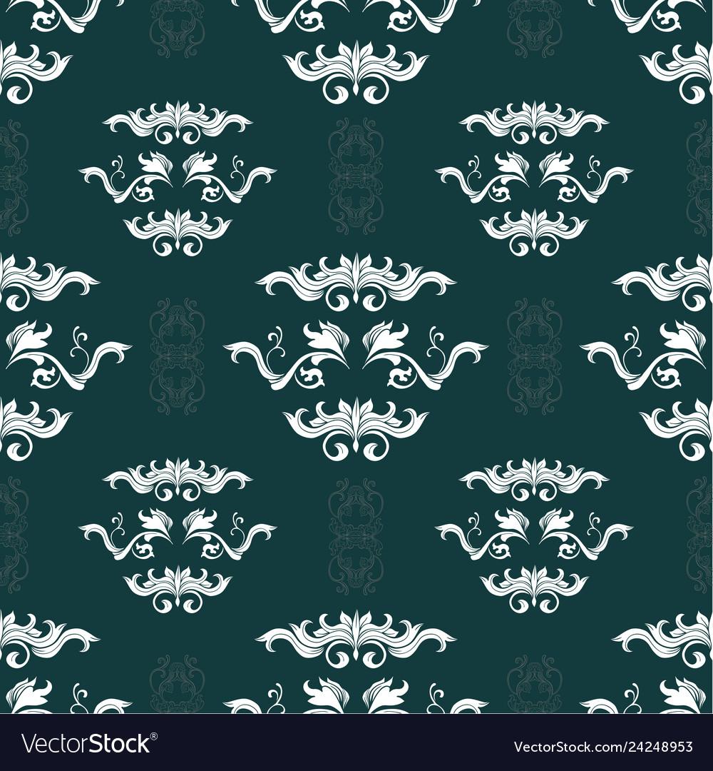 Damask hand drawn seamless pattern
