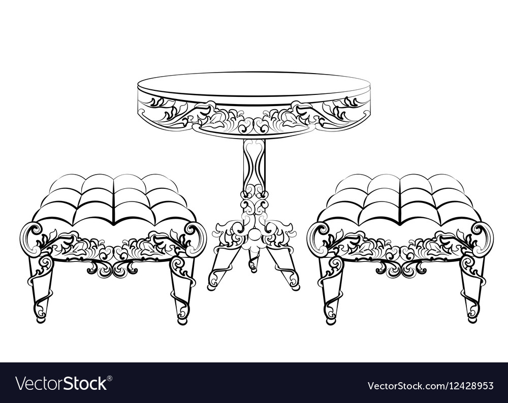 Furniture In Classic Rococo Style Royalty Free Vector Image