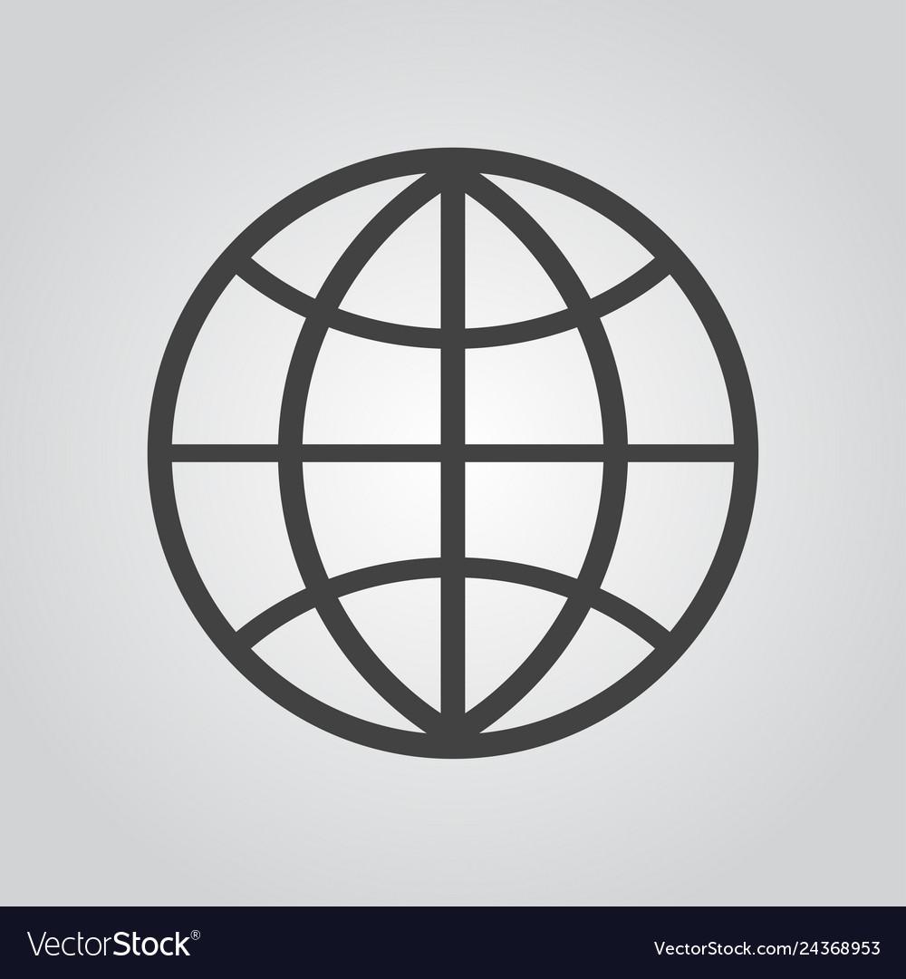 Globe icon flat on gray background