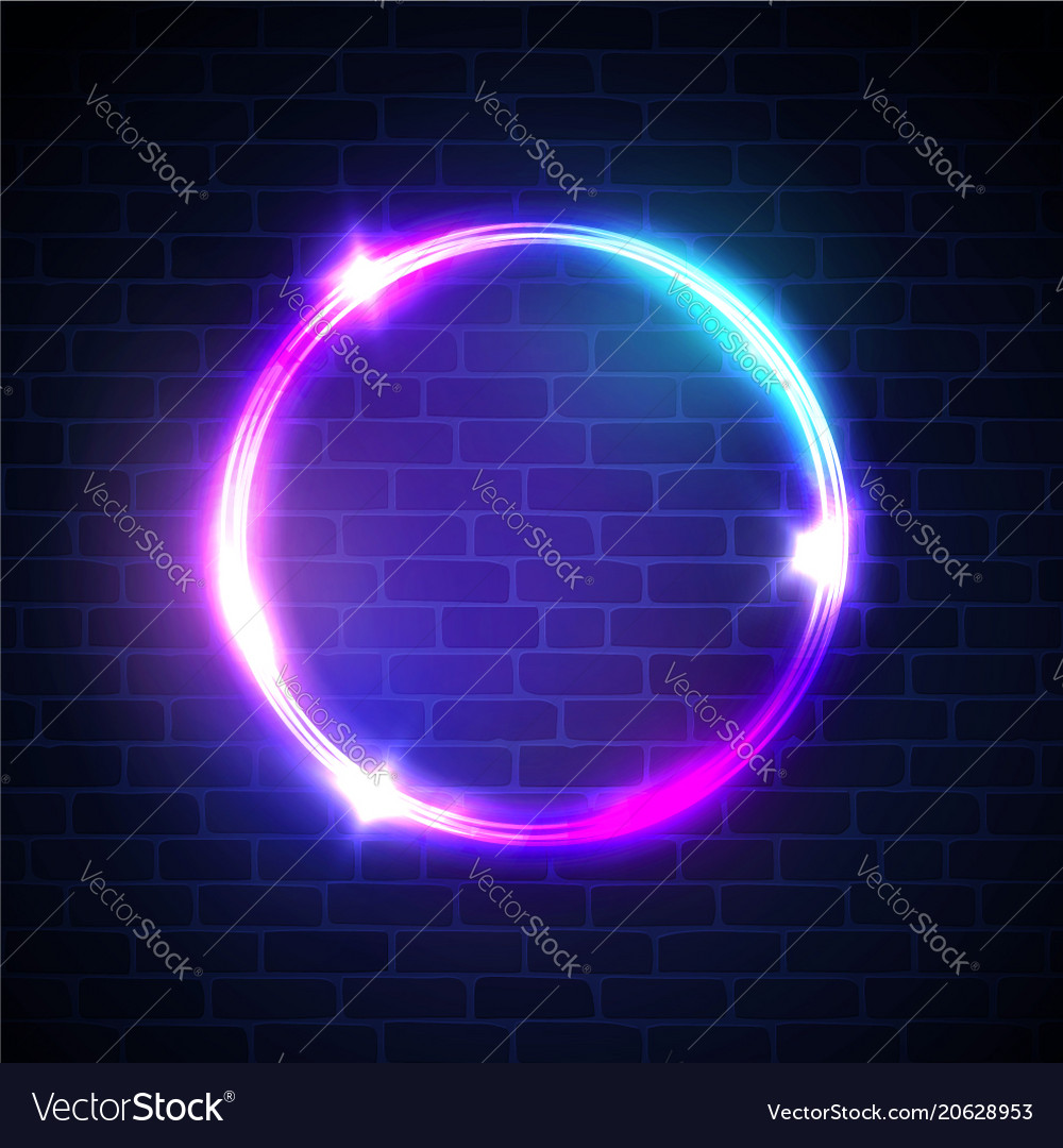 Glowing circle with neon lights on dark brick wall glowing circle with neon lights on dark brick wall vector image aloadofball Images