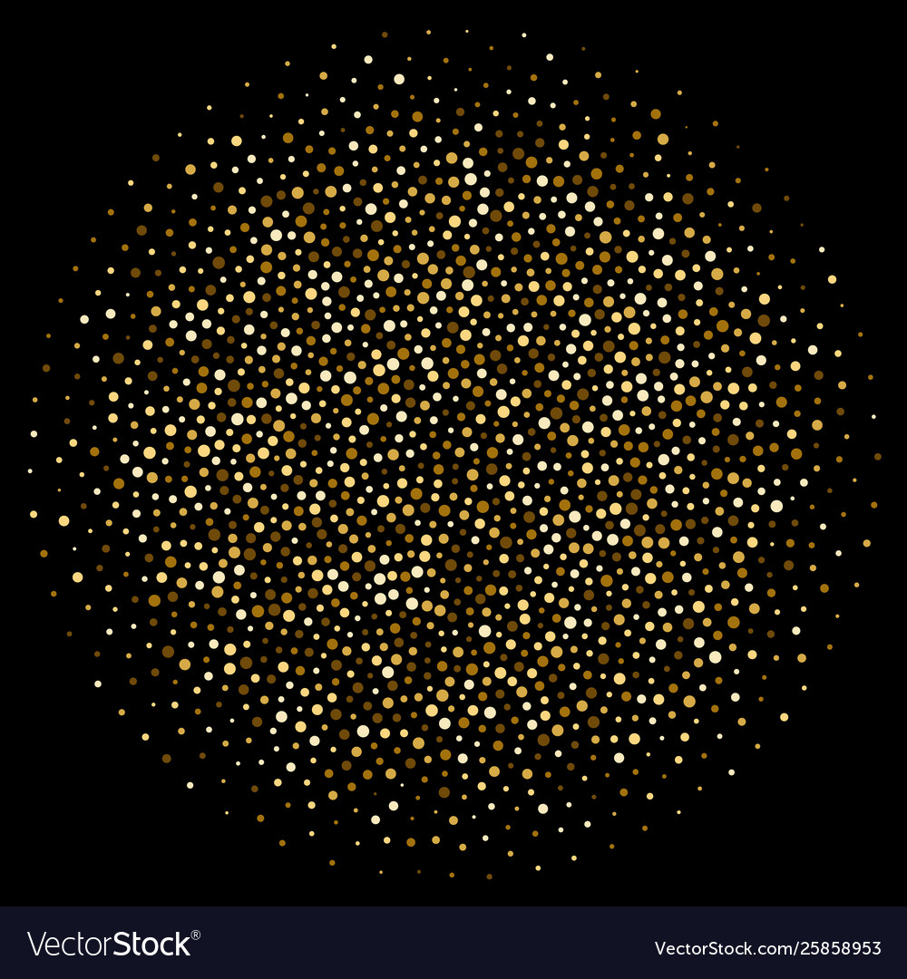 Golden dot or glitter confetti circle background
