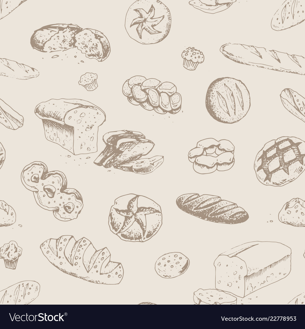 Hand drawn bakery and bread seamless pattern