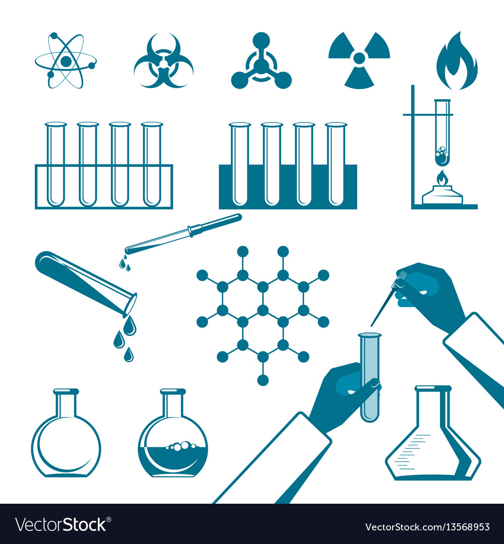 Molecular elements and test tube black icons
