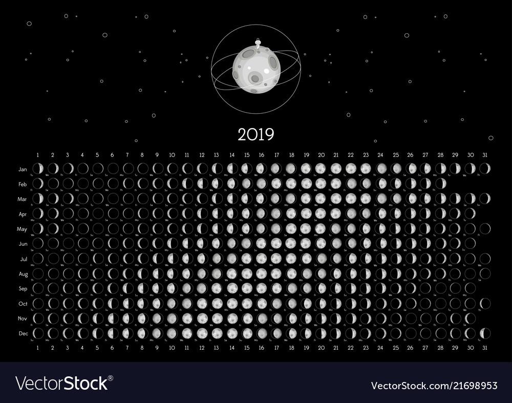 Retro moon calendar 2017 vector | free download.