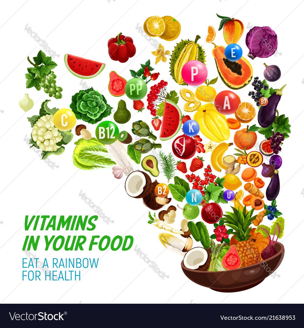 Rainbow color diet vitamin in healthy organic food