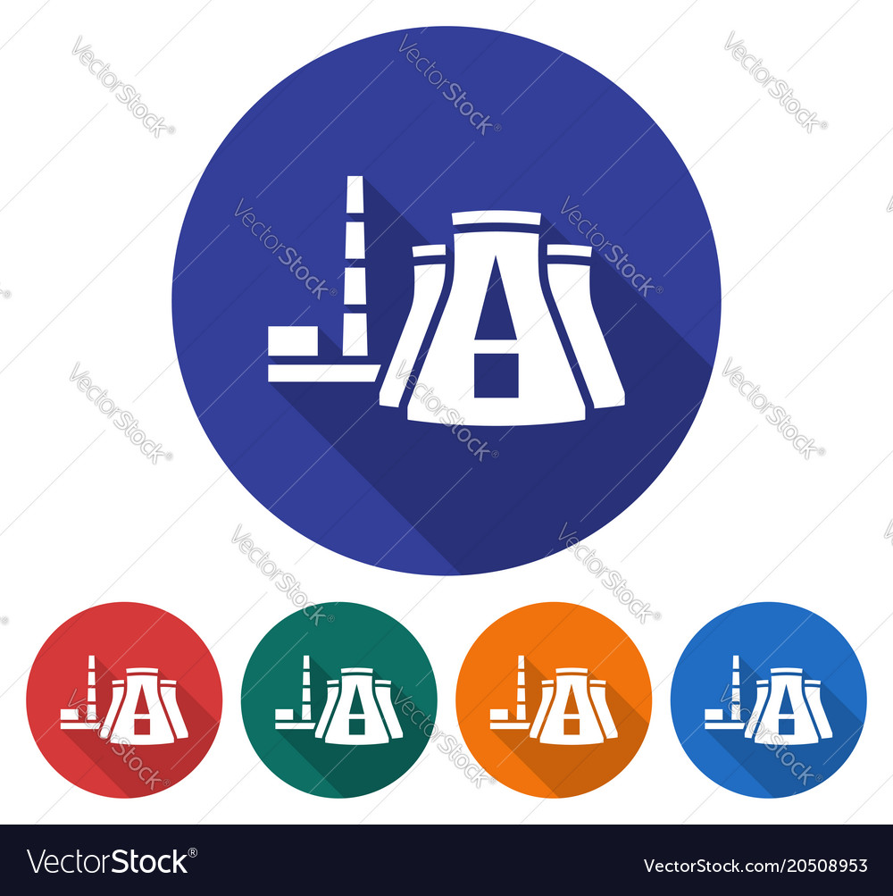 round icon of thermal power plant flat style with vector image Thermal Power Production