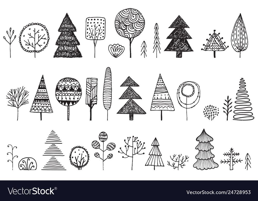 Set hand drawn doodle trees