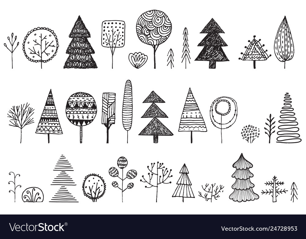 Set of hand drawn doodle trees