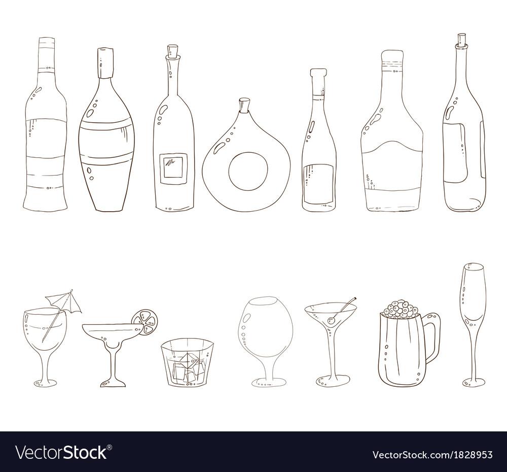 бутылка вина картинка для скетчбука ради