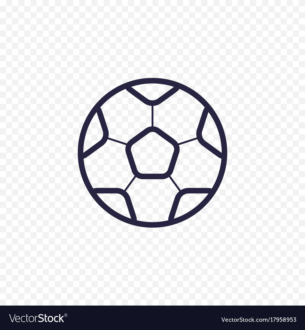 Soccer ball simple line icon football game thin