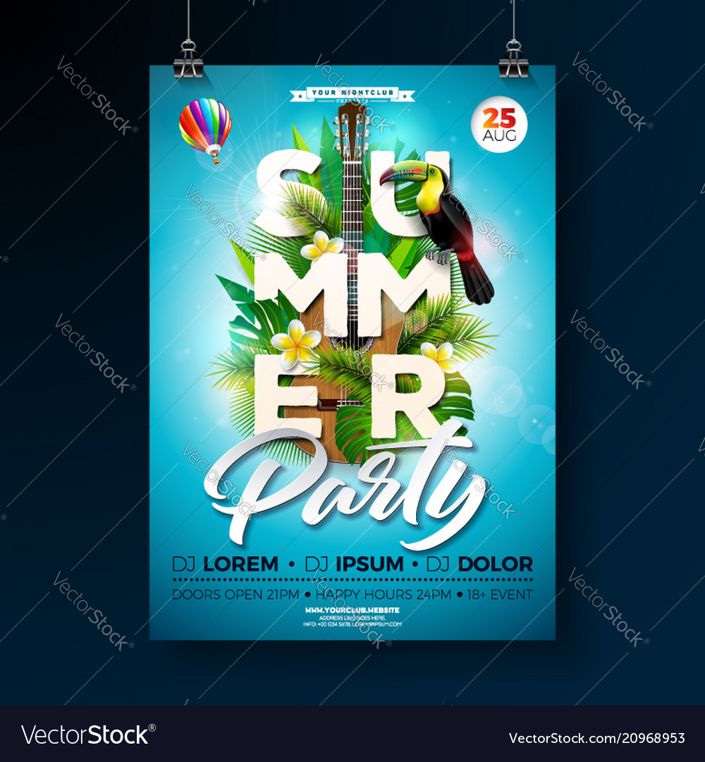 Summer beach party flyer design with