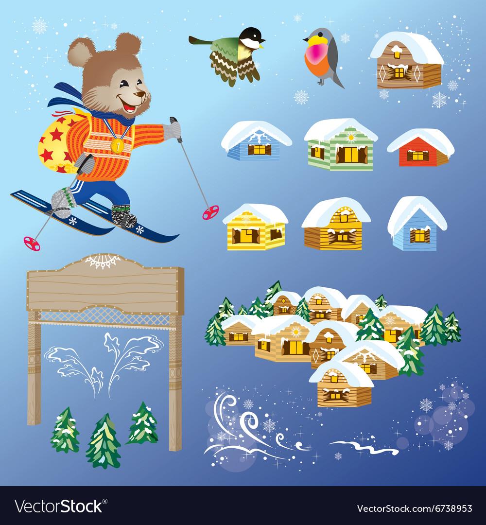 Vintage Winter Card Design Elements