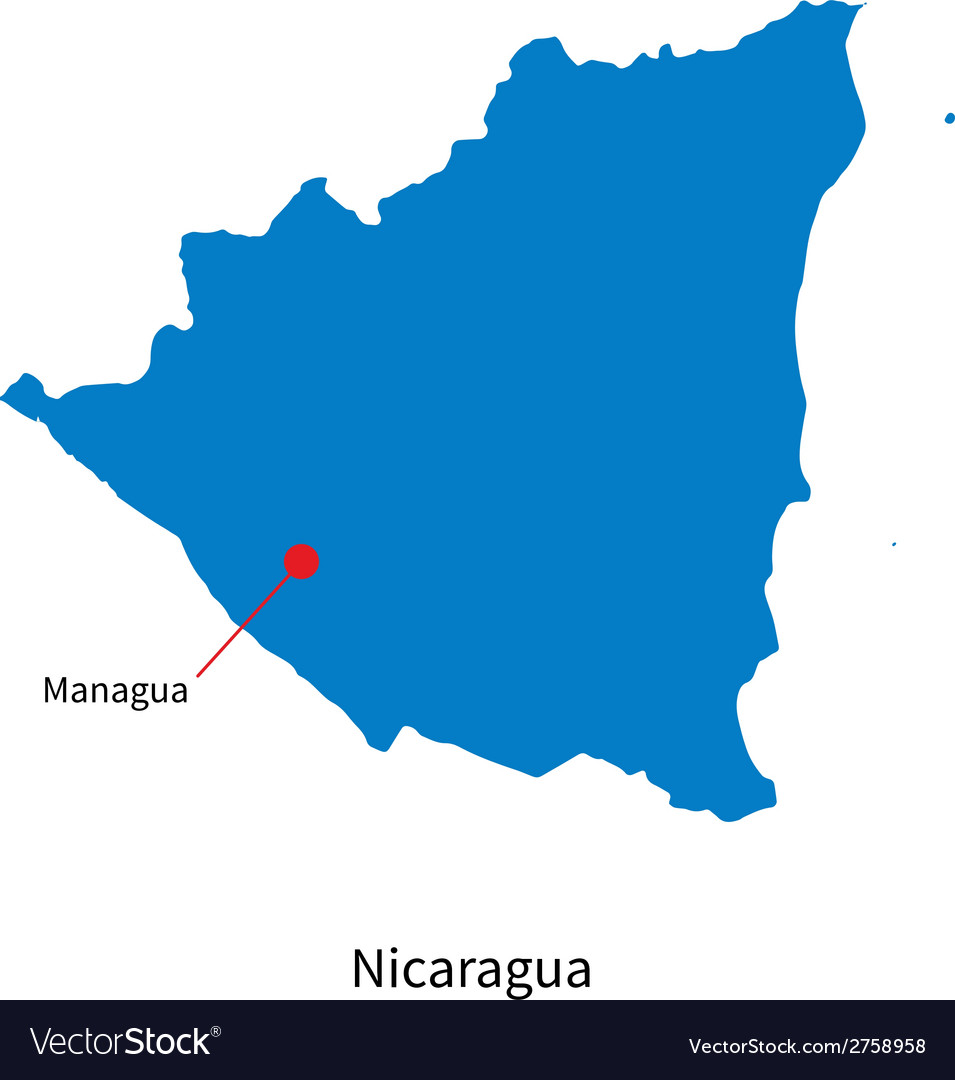 Detailed map of Nicaragua and capital city Managua