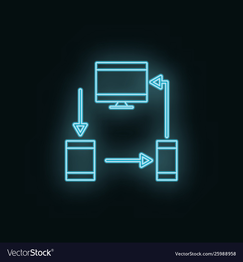 Devices monitor mobile tablet neon icon web