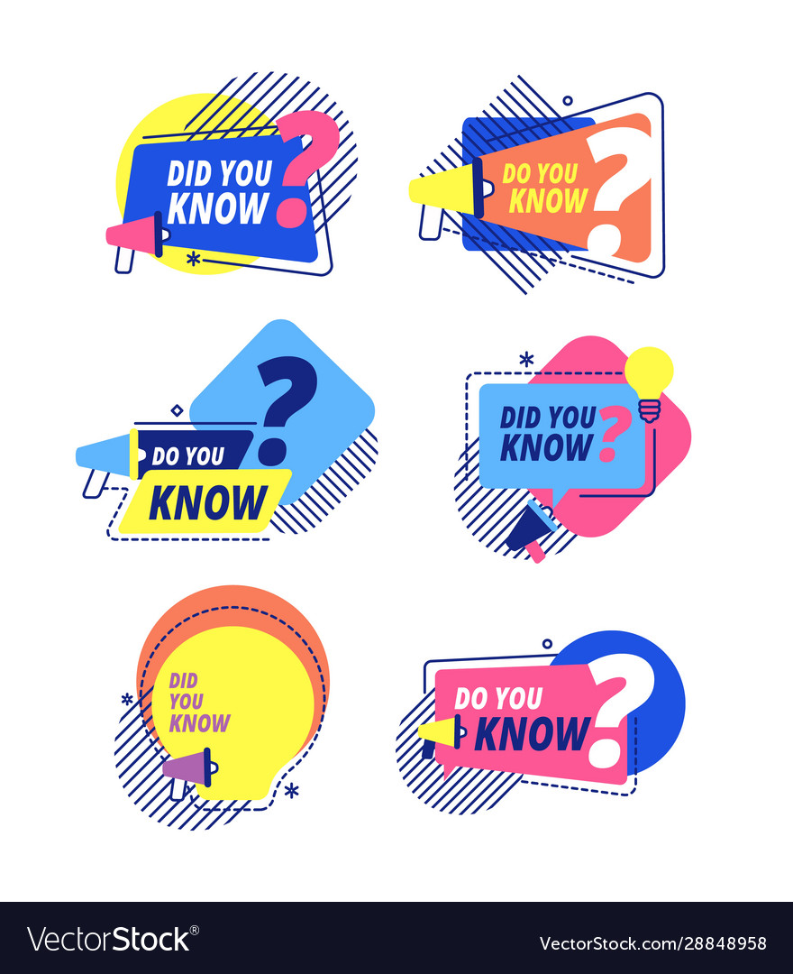 Did you know idea labels sticker with question