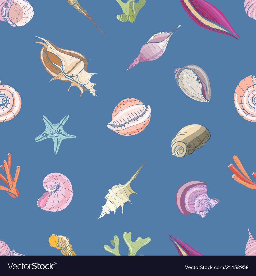 Elegant seamless pattern with seashells or shells