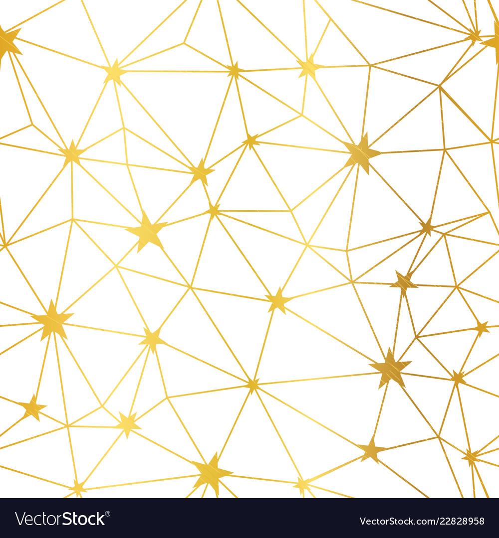 Gold white stars network seamless pattern