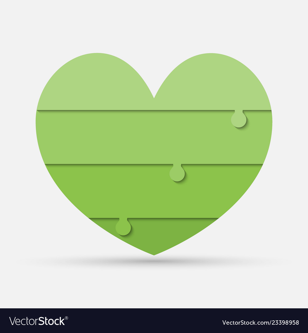 Green pieces puzzle of medical heart iinfographic