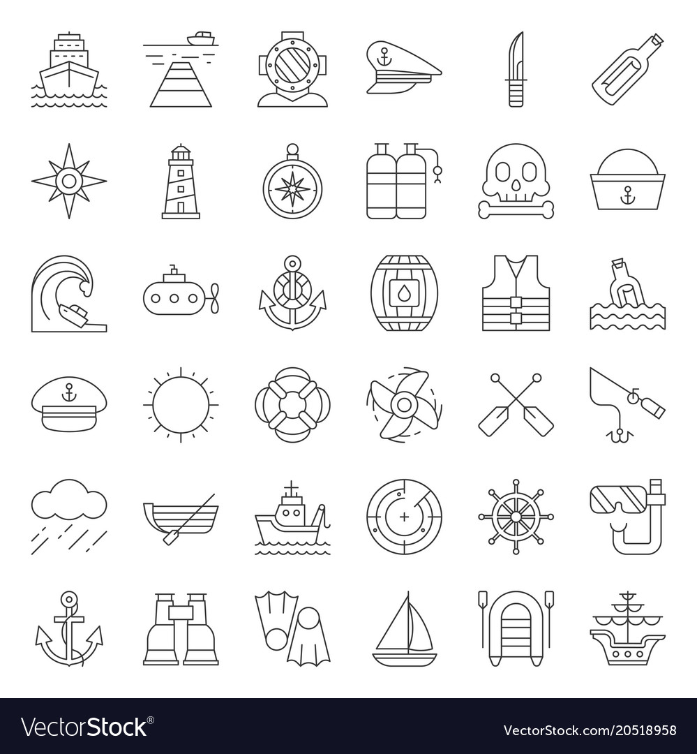 1ef5a9fa6 Nautical and sailor outline icon set