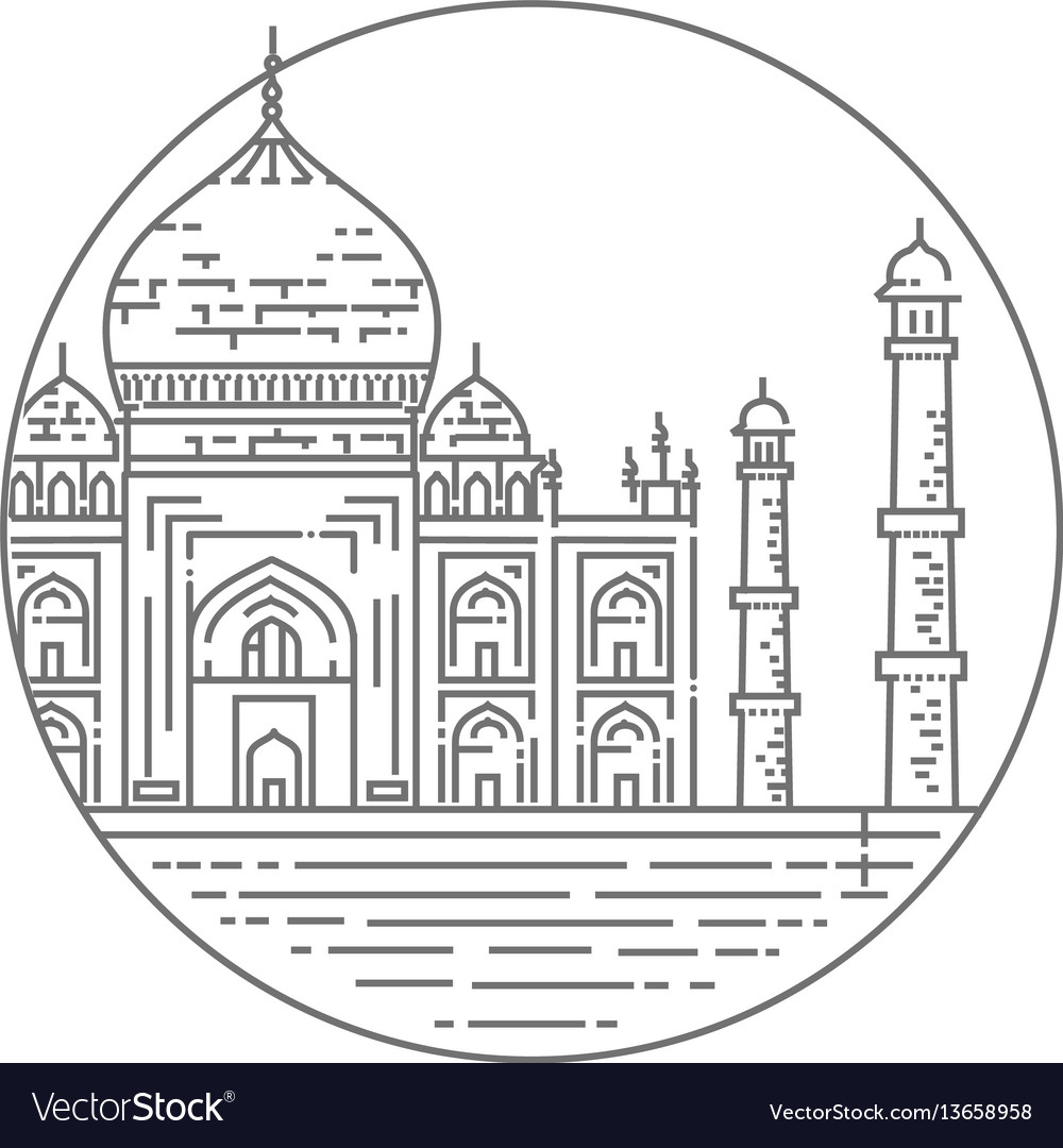 Outline of taj mahal palace icon vector image