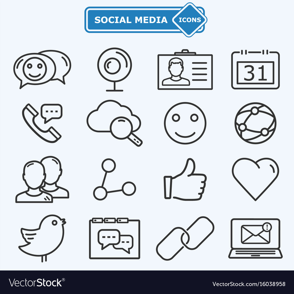 Social media and network lines icons