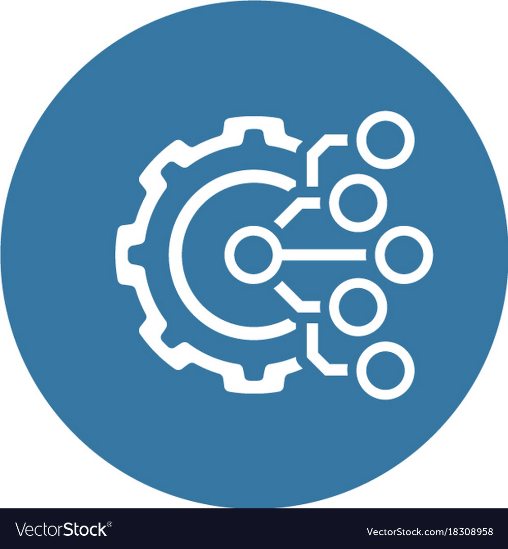 Technology icon gear and electronic digital Vector Image