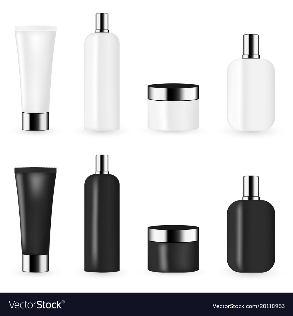 Black and white color cosmetic package template vector image