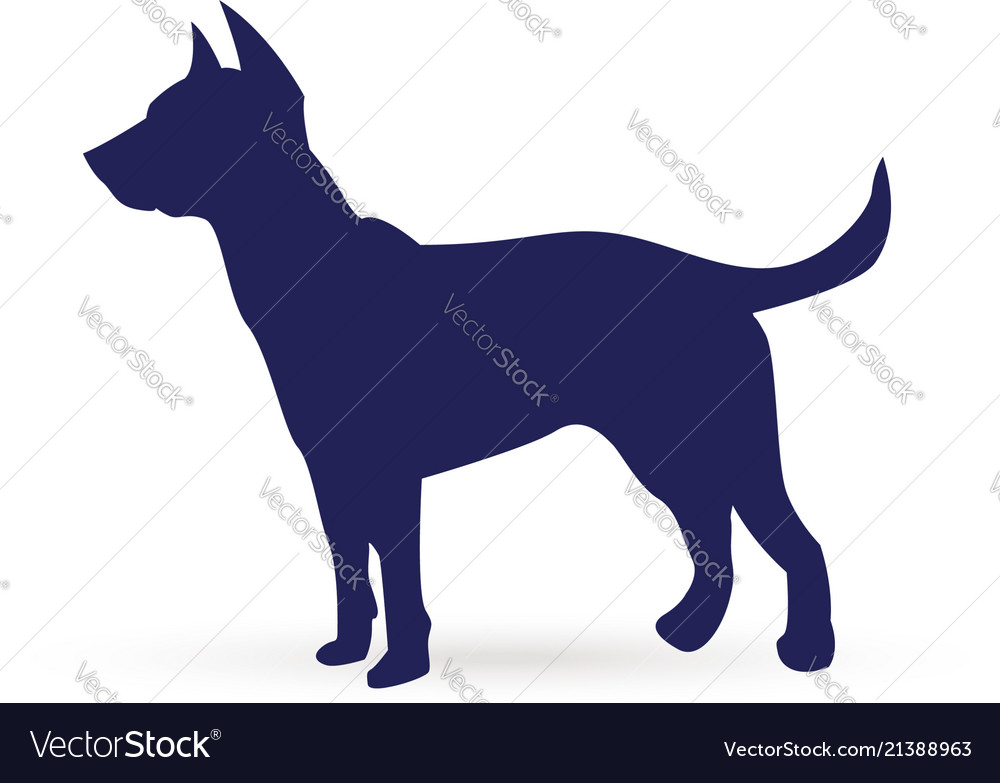 Blue dog silhouette icon