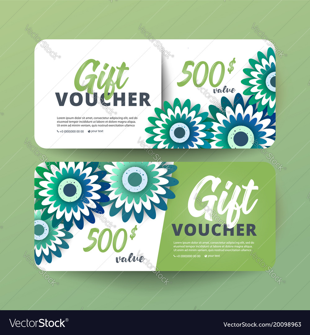 Business floral card template coupon template Vector Image