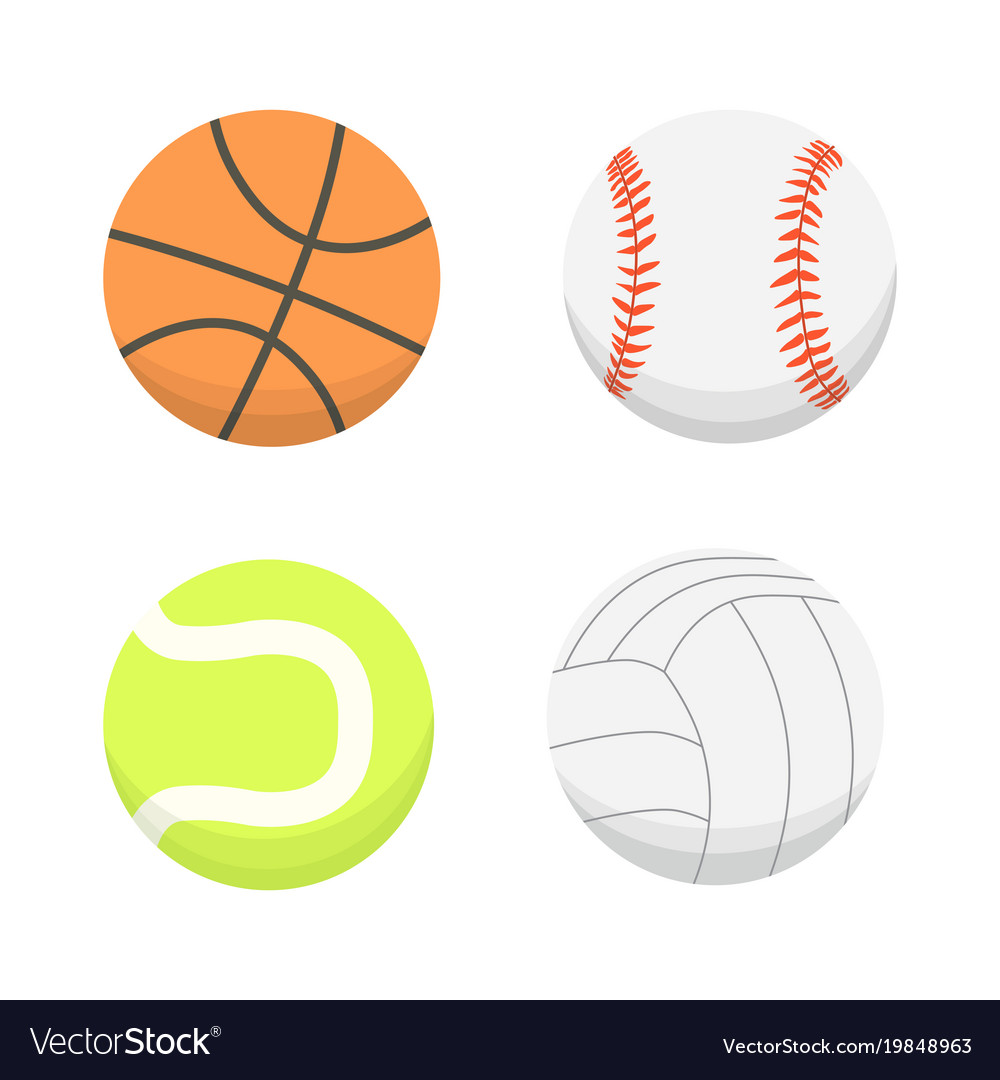 Cartoon Colorful Ball Set Sport Balls Royalty Free Vector