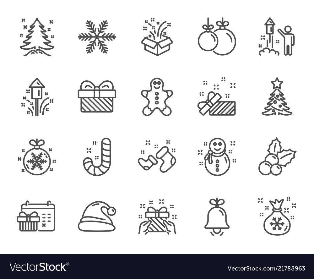 Christmas line icons set of santa hat