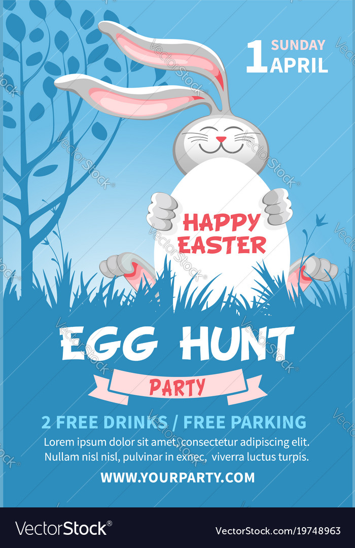 Easter egg hunt flyer template Royalty Free Vector Image