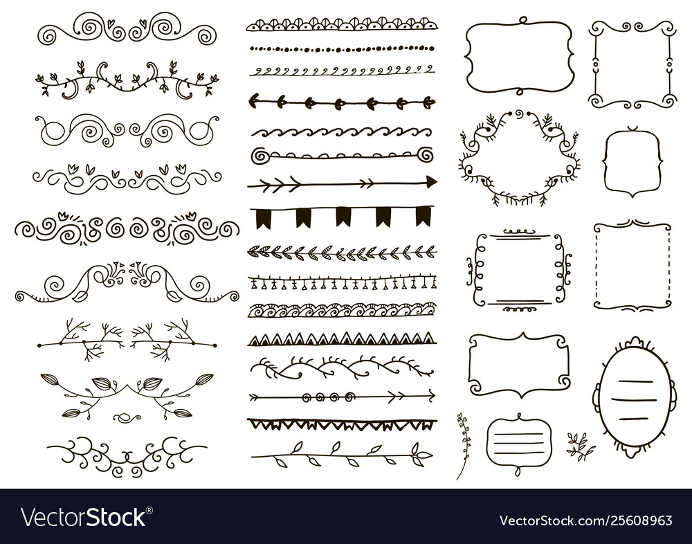 Floral ornament dividers hand drawn