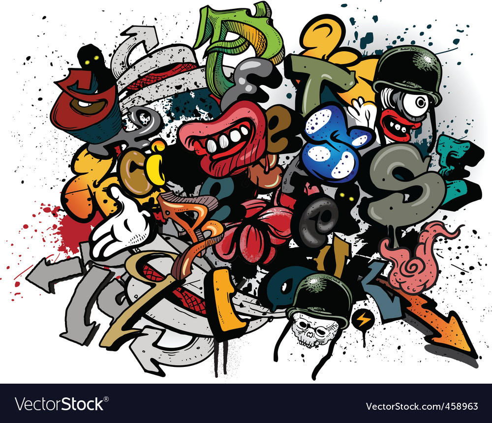 Graffiti elements explosion vector image