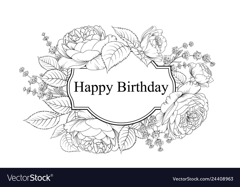 Happy birthday card greeting card with rose and