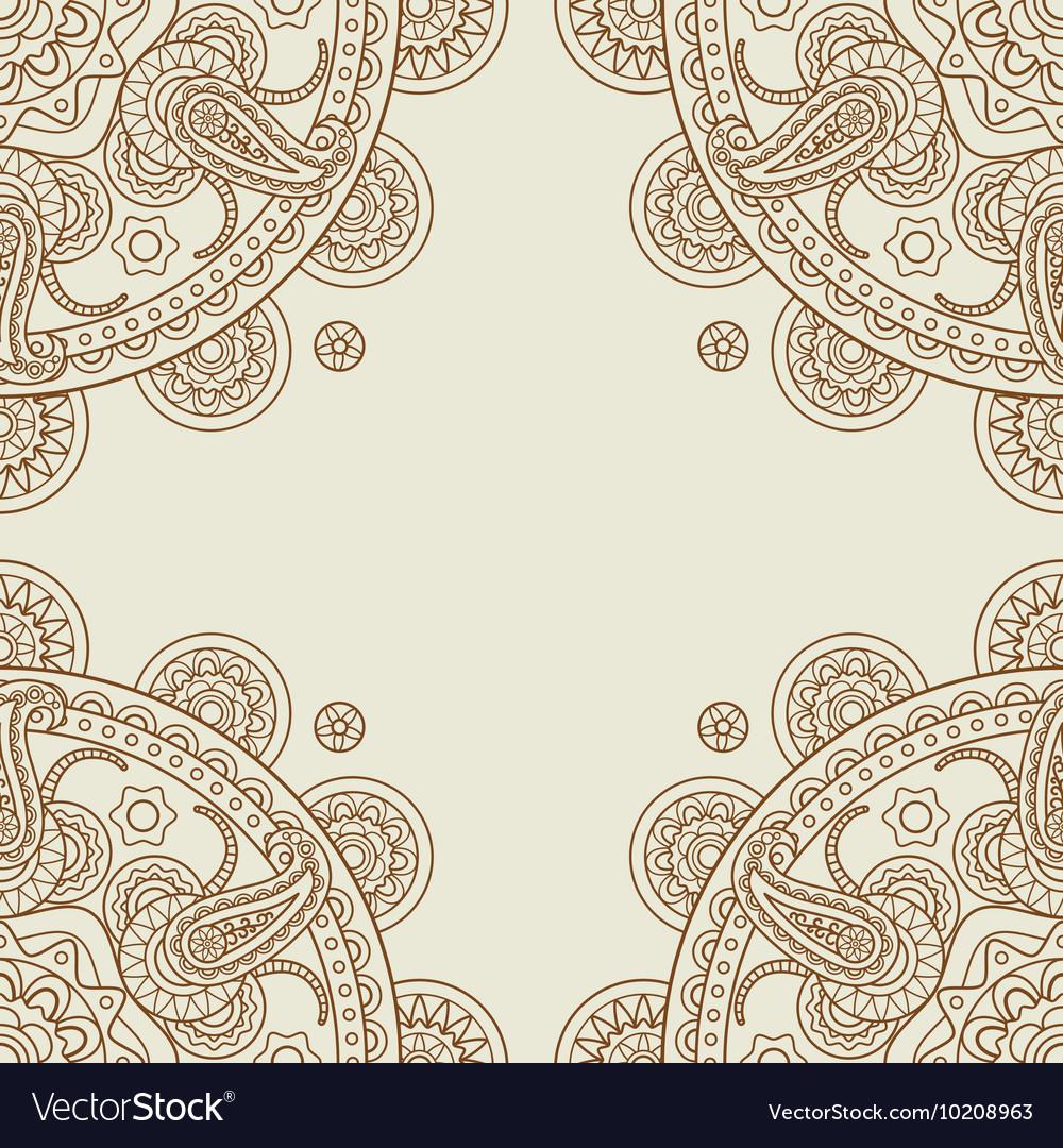 Indian paisley boho floral corners frame