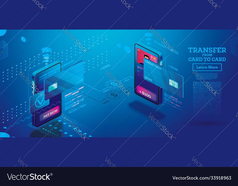 Mobile money transfer isometric concept online