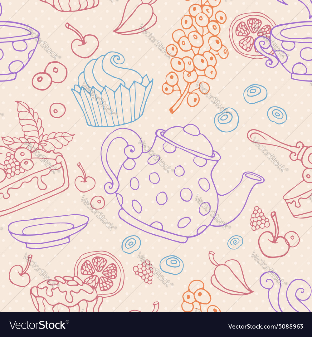Ornament seamless pattern with tea party objects