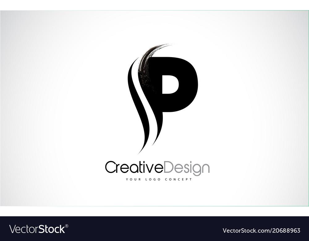 P letter design brush paint stroke Royalty Free Vector Image