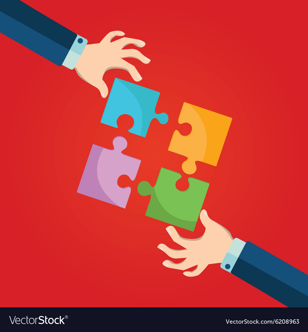 Person making a puzzle A hand puts proper puzzle vector image