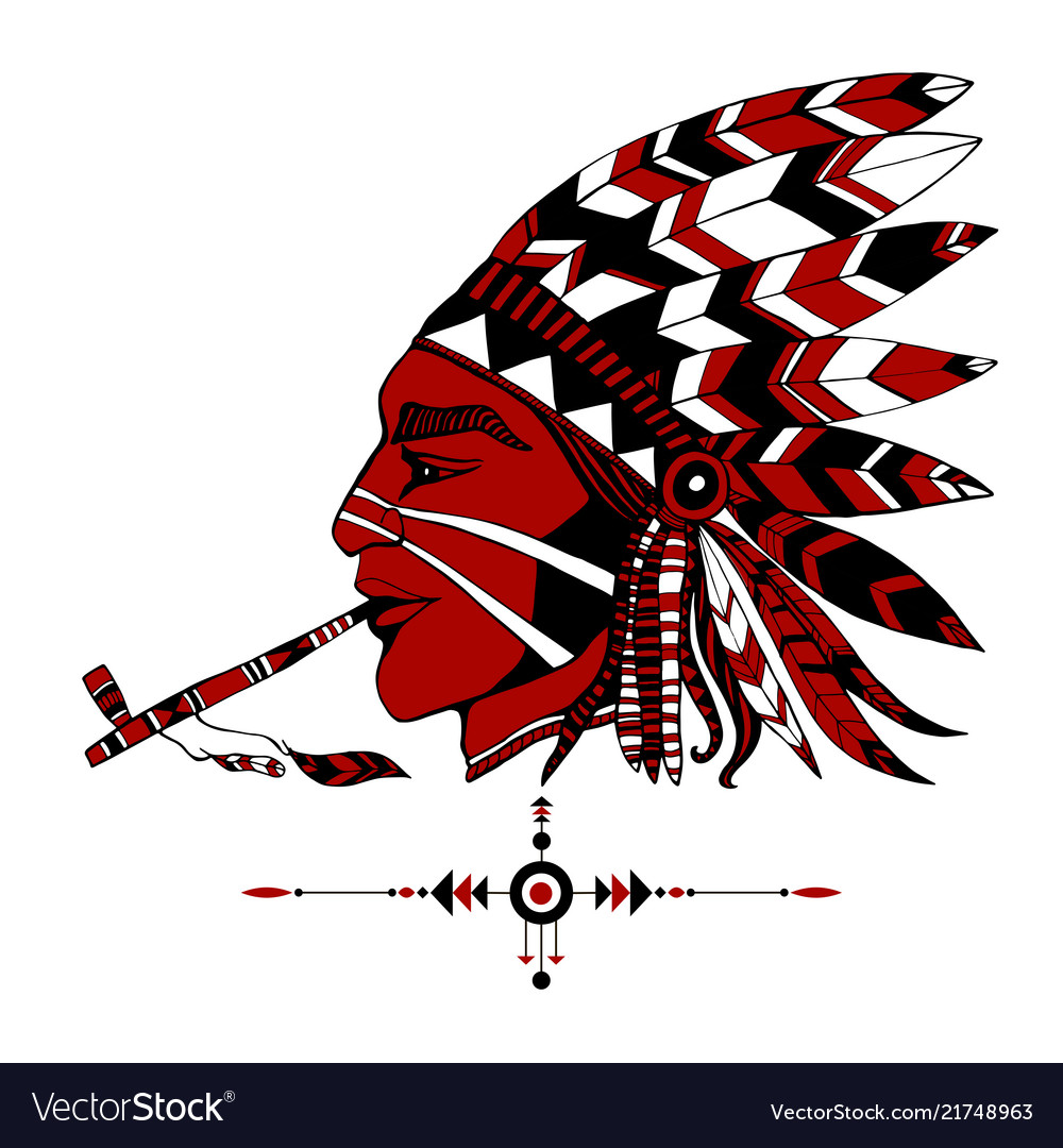 Red-skinned indian shaman in ethnic costum smokes