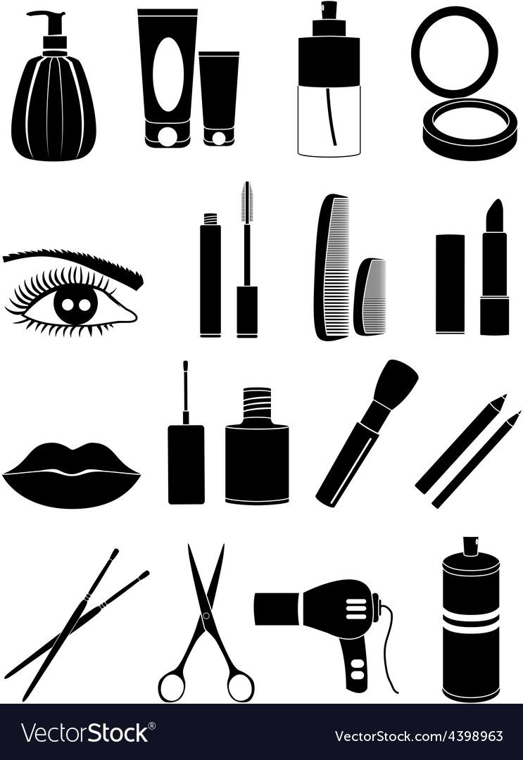 Salon makeup icons set