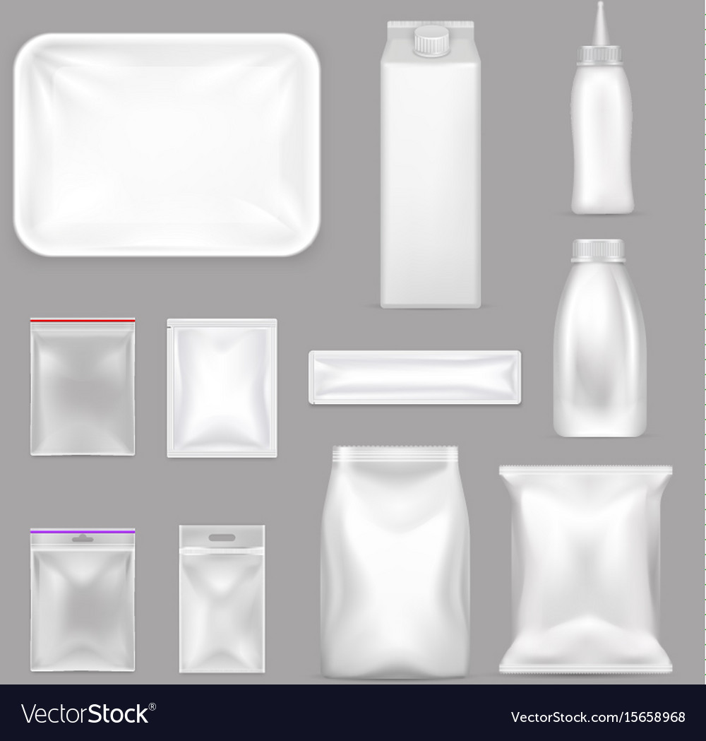 Blank food packaging realistic set