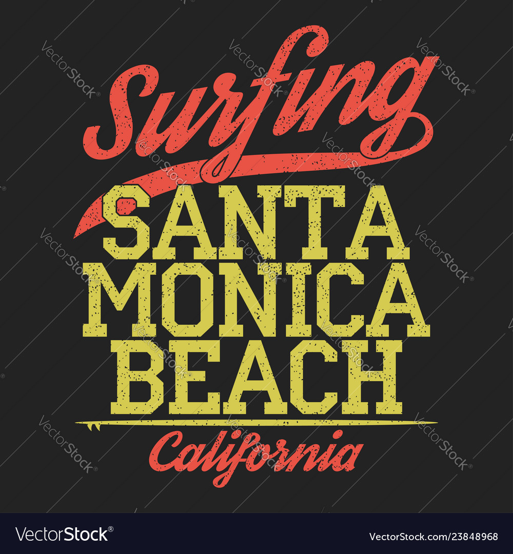 California santa monica beach surfing print vector